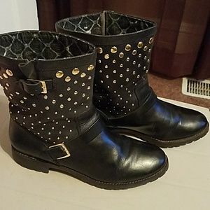 Sperry Leather Boots with Gold Studs